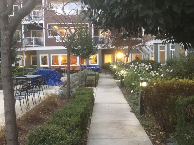 Photo of the Madrone courtyard at the University Retirement Community showing flowers, the building in the background, and picnic tables